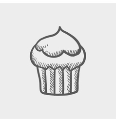 Cupcake sketch icon vector