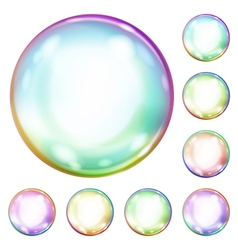 Multicolored opaque soap bubbles vector image