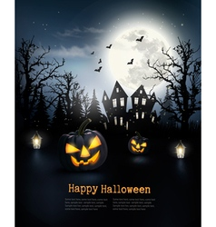 Scary Halloween background with pumpkins and moon vector image