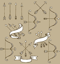 Sketch set of arrows vector