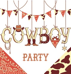 Cowboy party text background isolated on white vector