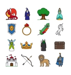 Fairy tale thin line icons vector
