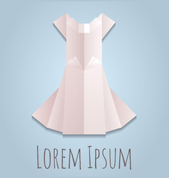 a paper origami white dress vector image