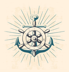 anchor with navigation wheel vector image vector image