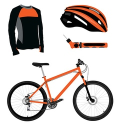 Bicycle helmet pump and shirt vector image vector image