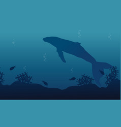 Big whale on ocean landscape silhouette vector