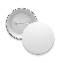 blank white round pin vector image vector image