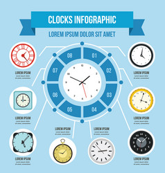 Clocks infographic concept flat style vector