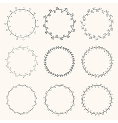 Collection of hand drawn round wreaths vector image vector image