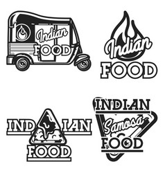 Color vintage indian food emblems vector