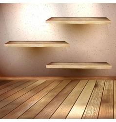 Empty wooden shelf background EPS 10 vector image vector image