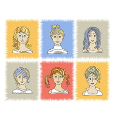Faces girls 2-1 vector