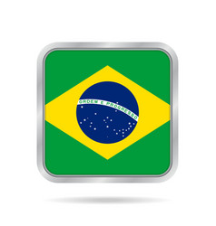 Flag of brazil shiny metallic gray square button vector