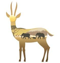 Gazelle landscape vector