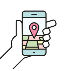 hand holding smartphone linear icon line vector image