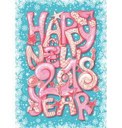 Happy new 2018 year gift vertical postcard with vector