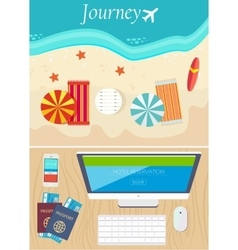 Hotel online booking and travel concept vector image vector image