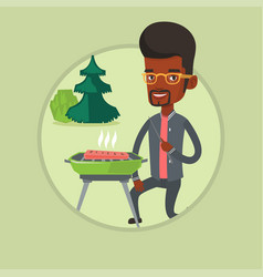 Man cooking steak on barbecue vector
