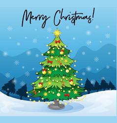 merry christmas card template with christmas tree vector image