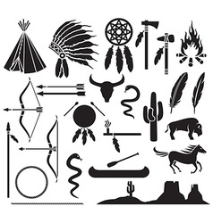Native american icon set vector image