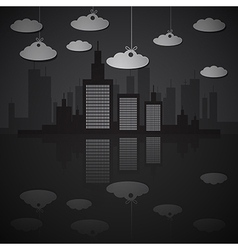 Night city scape with paper clouds vector