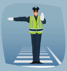 Officer of traffic police standing at crossroads vector