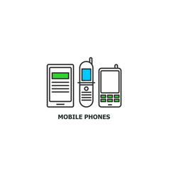 Old mobile phones recycle concept icon in line vector