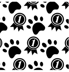 pet dog head and bone toy food pattern vector image