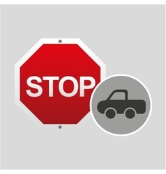 Pick up truck stop road sign design vector