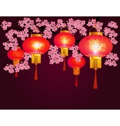 Red chinese lanterns hanging in the park sakura vector