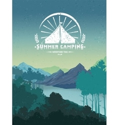 Retro Camping Colorful Poster vector image