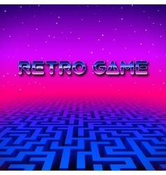 Retro gaming hipster neon landscape with labyrinth vector image