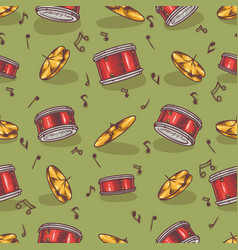 Seamless pattern with cymbals and drums vector