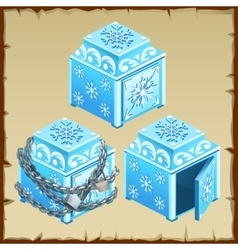 Three blue chest of ice open and closed vector image vector image