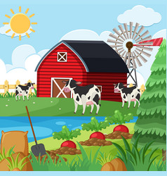 three cows on the farm at daytime vector image
