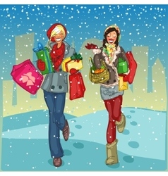 Women with shopping bags and present boxes walking vector