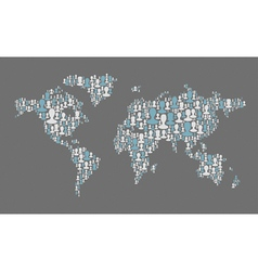 world map composed from many people silhouettes vector image