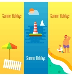 Summer holidays banner with lighthouse vector
