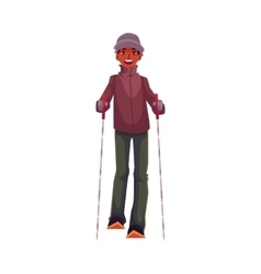 Teen-aged black boy with ski and poles vector image