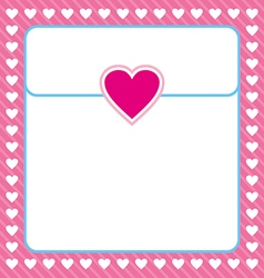 Frame shaped from white heart on pink background vector