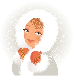 Cute young girl in a fur coat and mittens sweet vector