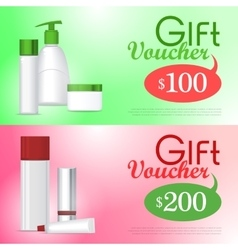Gift voucher cosmetic template certificate coupon vector