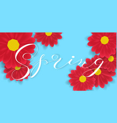 Spring hand writen lettering and red vector