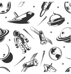 astronaut space traveling seamless pattern vector image