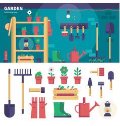 Gardening equipment in the garage vector
