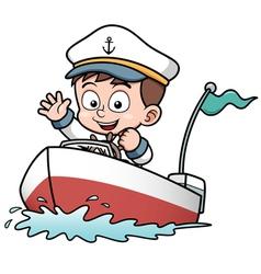 Boy on boat vector image