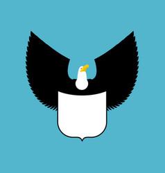 Bald eagle and shield big strong bird emblem vector