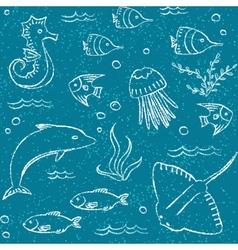 Sealife hand drawn seamless pattern vector