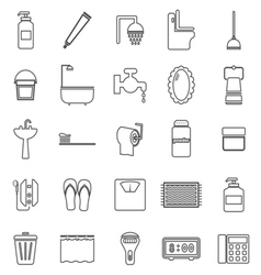 Bathroom line icons on white background vector