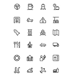 Travel line icons 5 vector